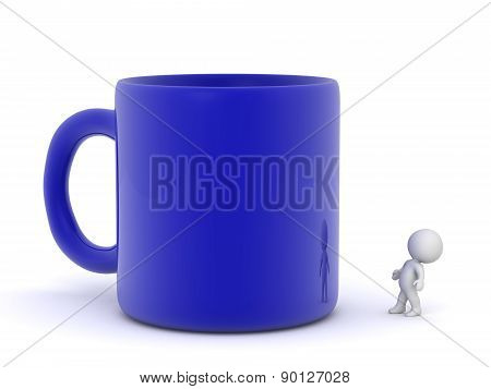 3D Character Looking Up at Large Blue Cup