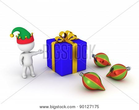3D Man showing wrapped gift and globes
