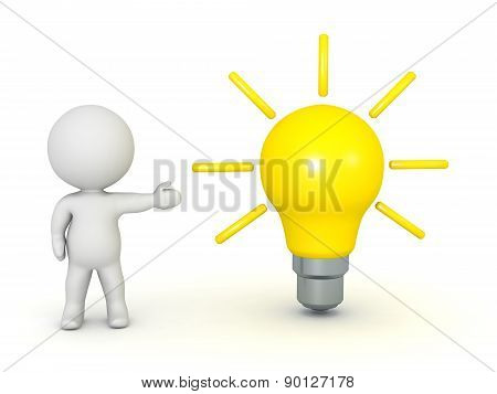 3D Character Showing Light Bulb