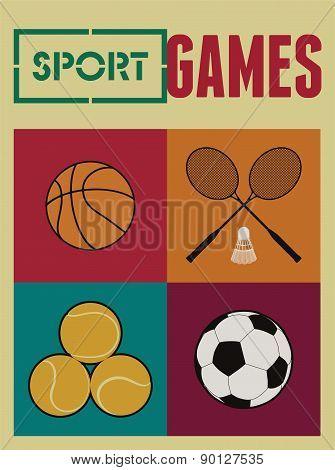 Vintage sport games poster. Basketball, badminton, football, tennis. Retro vector illustration.