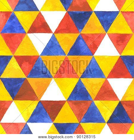 Watercolor vector triangular seamless pattern