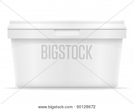 White Plastic Container For Ice Cream Or Dessert Vector Illustration