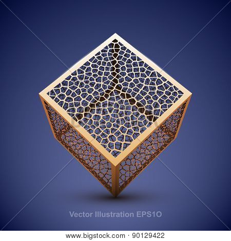 Abstract vector wireframe cube