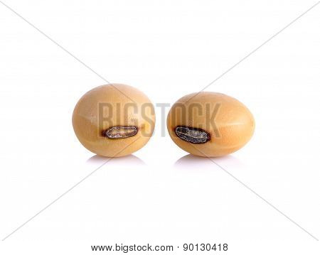 Closeup Of Soy Beans Isolated On The White Background