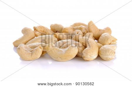 Raw Cashew Nuts Isolated On The White Background