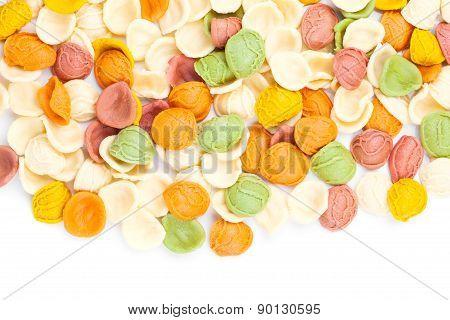 Italian Colors Pasta Background,  Isolated On White Background