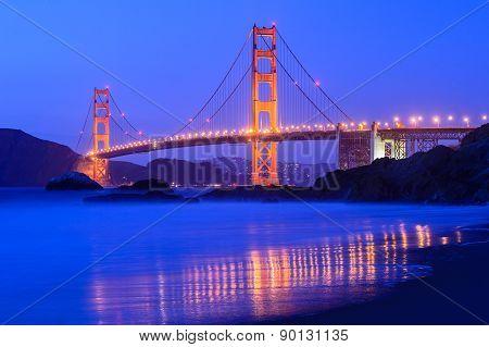 Golden gate bridge at night in San Francisco