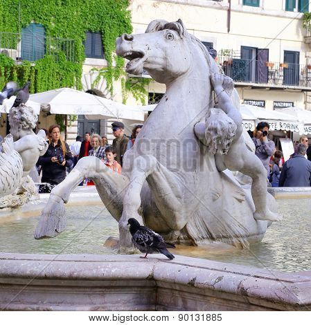 Rome, Italy - April 19, 2015: Neptune Statue In Piazza Navona. The Fountain Of Neptune Is A Fountain