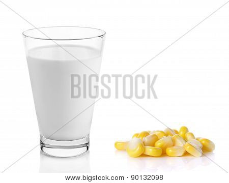 Fresh Milk In The Glass With Corn On White Background