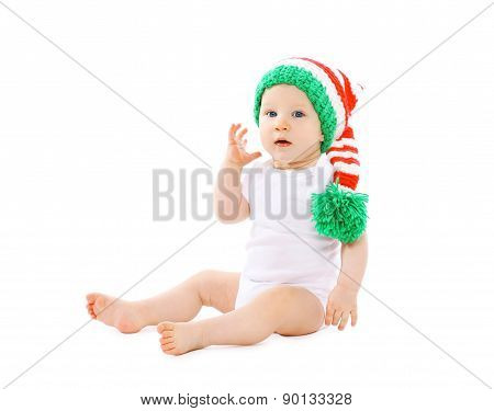 Portrait Of Funny Baby In The Hat Gnome