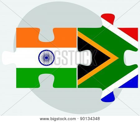 India And South Africa Flags In Puzzle
