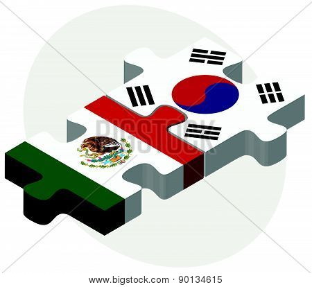 Mexico And South Korea Flags In Puzzle
