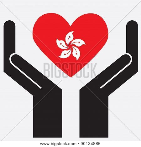 Hand showing Hong Kong flag in a heart shape.