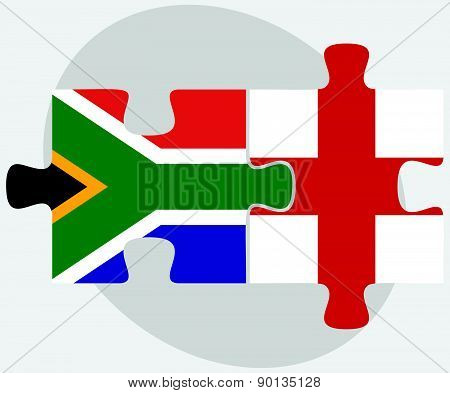 South Africa And England Flags In Puzzle