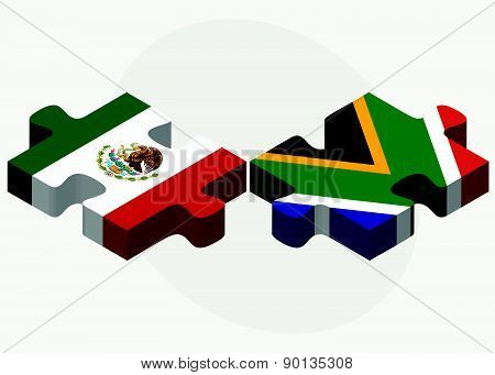 Mexico And South Africa Flags In Puzzle