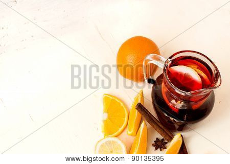 Refreshing Fruit Sangria. Summer Drink