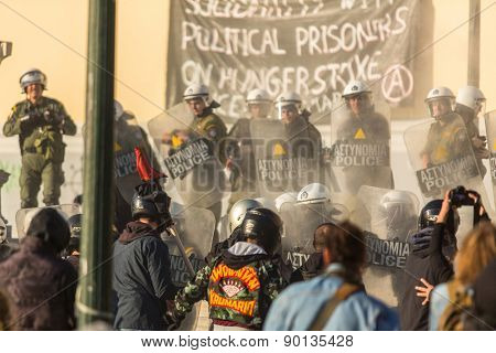 ATHENS, GREECE - CIRCA APR, 2015: Anarchist protest near Athens University, which has been occupied by protesters - voiced support for a hunger strike by prisoners convicted under anti-terrorism laws.