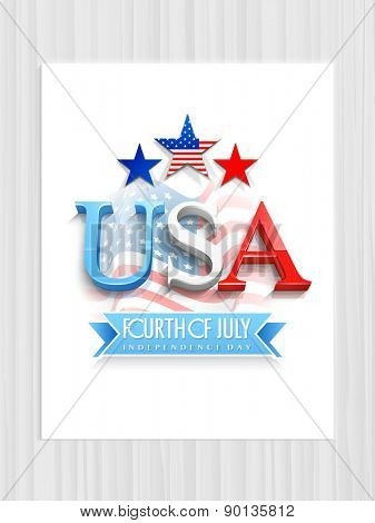 3D text USA with stars on waving national flag background for Fourth of July, American Independence Day celebration.