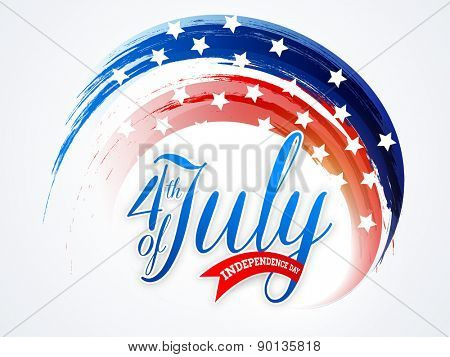 American national flag colors paint stroke with stylish text 4th of July for Independence Day celebration on shiny background.