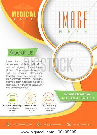 Stylish Medical Care Template, Brochure or Flyer layout with place holders for image.