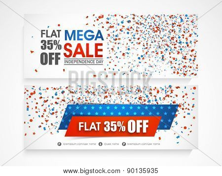 American Independence Day celebration website header or banner set of Mega Sale with 35% discount offer.