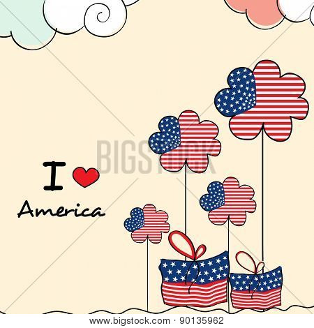 4th of July, American Independence Day celebration with national flag color flowers and gifts on cloudy background.