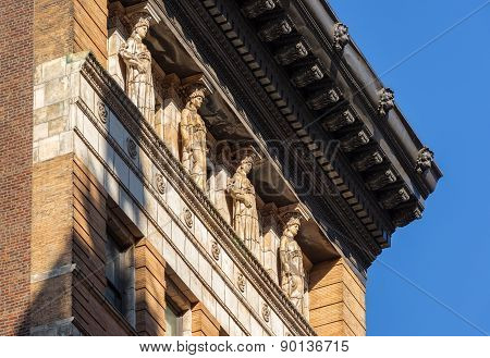 Caryatids And Cornice,19Th Century Brick Building, New York