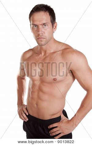 Man Shirtless Serious