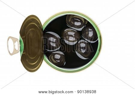Canned Olives With Pit In Open Tin