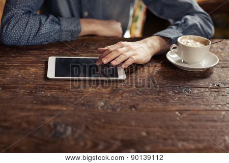 Relaxing Coffee Break With Tablet