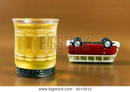drink and upended car