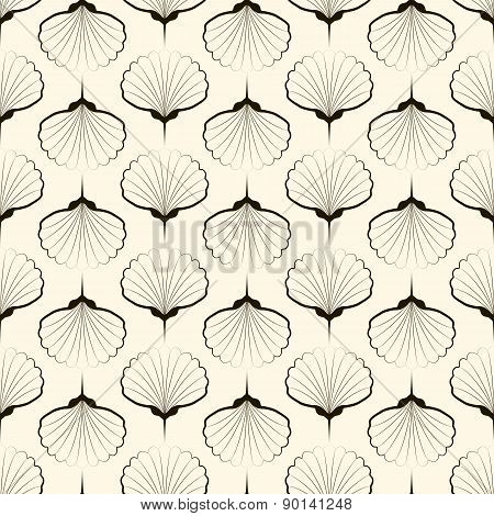 Seamless Pattern, Graphic Ornament. Vector Repeating Texture With Stylized Shells