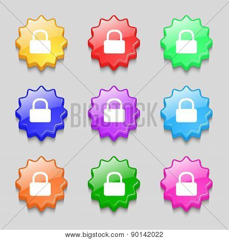 Pad Lock Icon Sign. Symbol On Nine Wavy Colourful Buttons. Vector