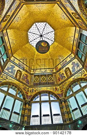 Art Nouveau Cupola In The City Museum Of Wiesbaden