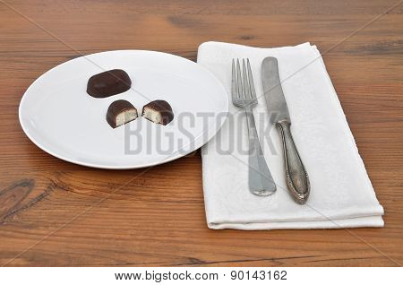 Chocolate Candies On Plate