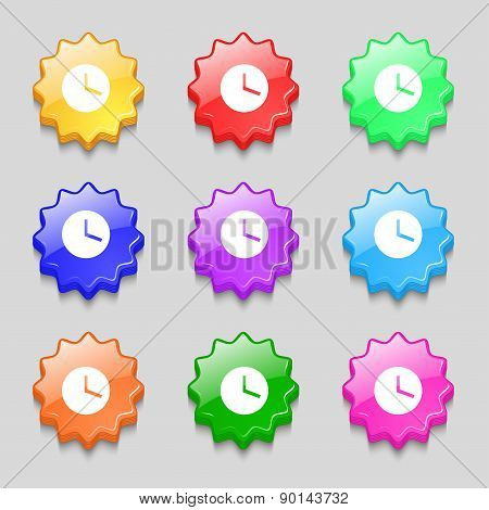 Mechanical Clock  Icon Sign. Symbol On Nine Wavy Colourful Buttons. Vector