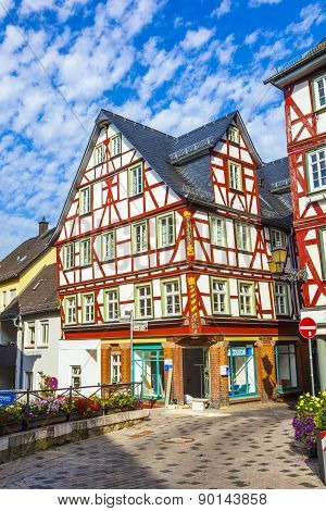 Old Town Of Wetzlar With Timbered Houses And Carvings In The Wood