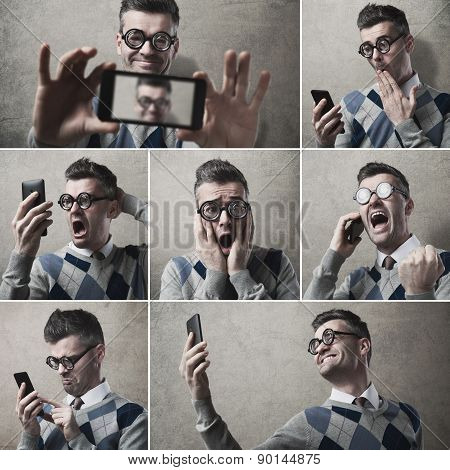 Funny Clueless Guy With His Smartphone