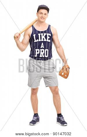 Full length portrait of a handsome young man holding a baseball bat and looking at the camera isolated on white background