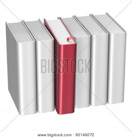 Book Choice Row White Red Blank Selecting Take Choosing