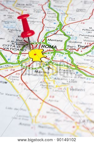 Rome Pinned On A Map Of Europe
