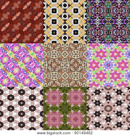 Set of Kaleidoscopic Seamless Generated Texture