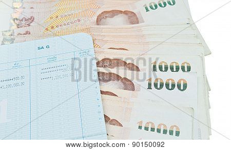 Book Bank With Thai Money Ready To Rich On White Background