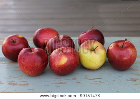 Apples on wood