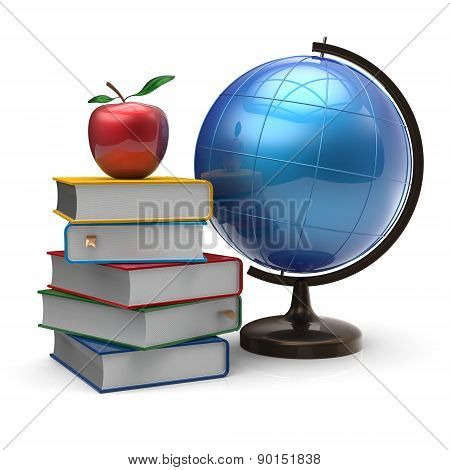 Globe Books Apple Blank Global Knowledge Symbol Concept
