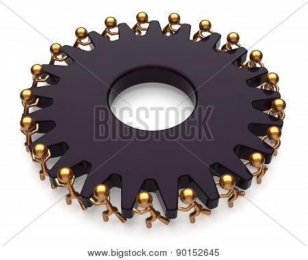Teamwork Team Work Job Business Process Men Black Gear