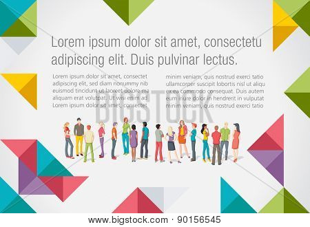 Colorful template for advertising brochure with large group of young people