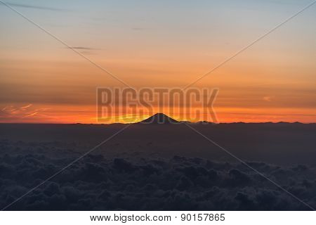 Aerial view of Mount Fuji during sunset
