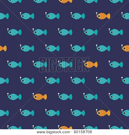 Seamless kids retro fish bubble ocean illustration blue background pattern in vector