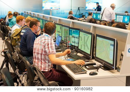 MOSCOW - MAY 9: Journalists work in the international press center, they write news about 70th anniversary of the victory in the Second World War events on May 9, 2015 in Moscow